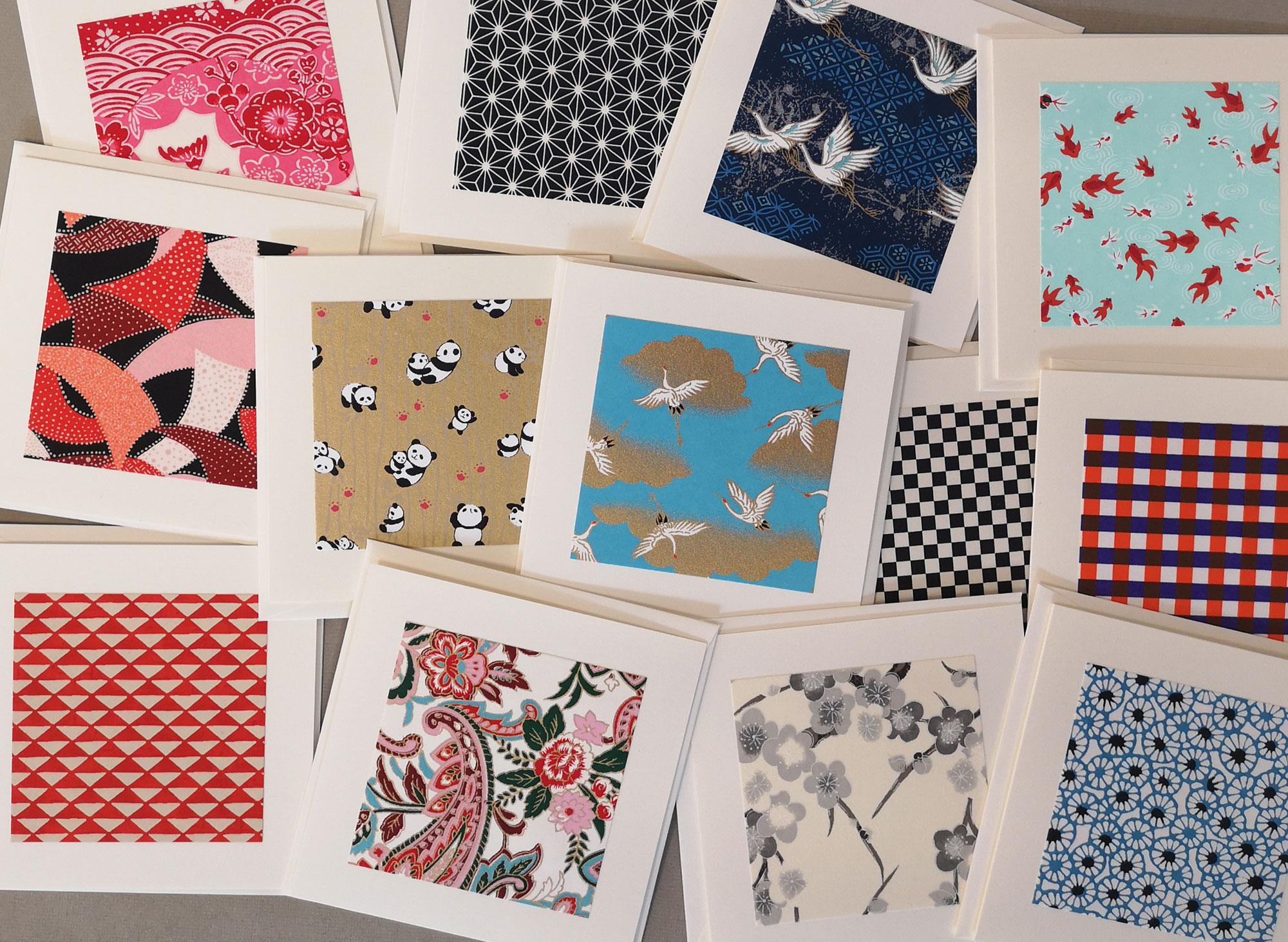 Doppelkarten mit Chiyogami Papier